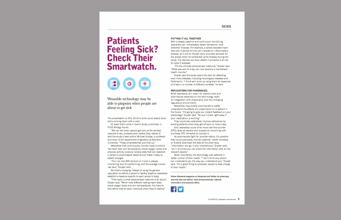 Patients Feeling Sick? article for Elements magazine