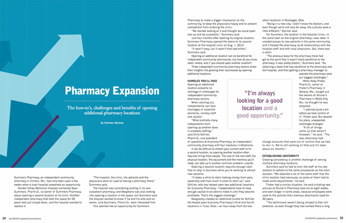 Pharmacy Expansion feature article in Elements magazine