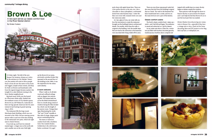 Brown & Loe article featured in VintgeKC magazine